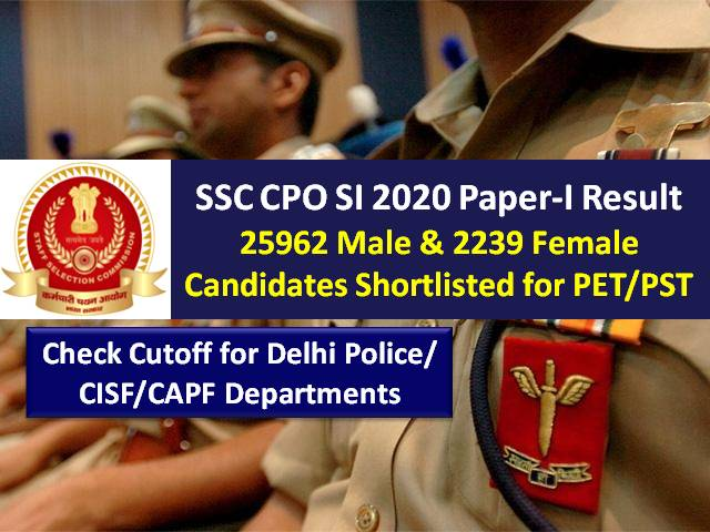 SSC CPO SI Delhi Police/CAPF Sub-Inspector 2020 Paper-I Result (Final Answer Key Released): 25962 Male/2239 Female Candidates Shortlisted for PET/PST (Download PDF), Check Cutoff Marks