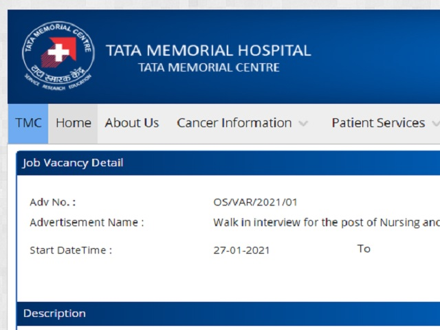 TMC Senior Resident Recruitment Notification