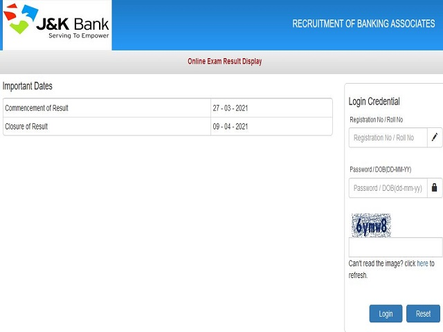 JK Bank Banking Associate Result