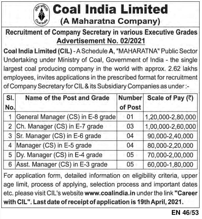 Coal India Limited (CIL) Recruitment 2021: Apply Company Secretary Posts