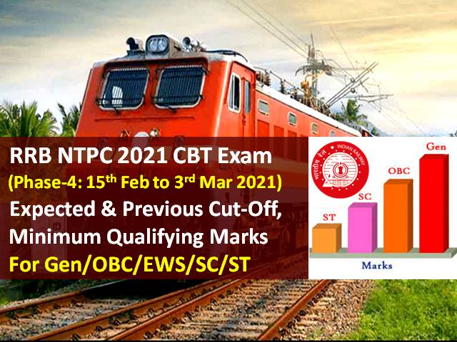 RRB NTPC 2021 Exam (Phase-4) Expected Cutoff Marks Categorywise (Gen/OBC/ EWS/SC/ST): Check Minimum Qualifying & Previous Cutoff Marks for RRB NTPC CBT