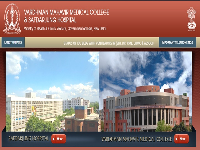 VMMC & Safdarjung Hospital Recruitment 2021: Apply for Junior Resident (Non-PG) Posts