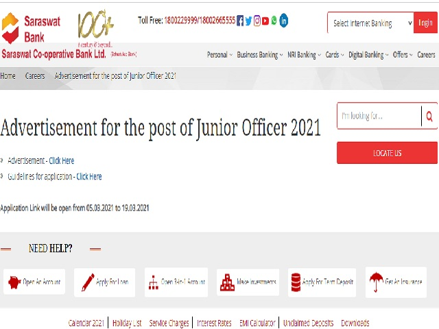 Saraswat Bank Junior Officer Recruitment 2021