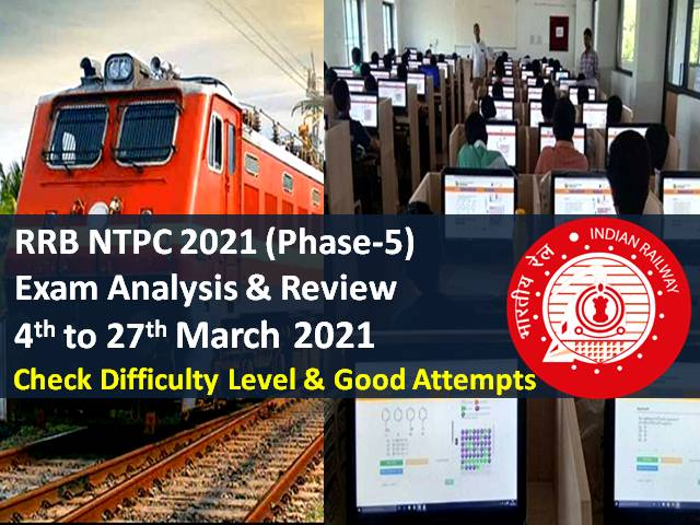 RRB NTPC 2021 Exam Analysis Phase-5 (4th to 27th March All Shifts): Check CBT Difficulty Level & Good Attempts to clear cutoff marks