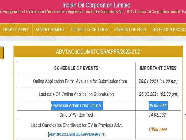 IOCL Admit Card 2021