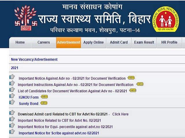 Bihar CHO Result 2021