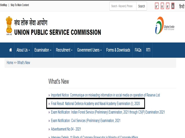 UPSC NDA Final Result 2021