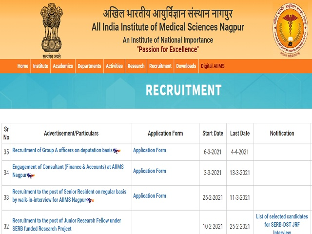 AIIMS Nagpur Recruitment 2021: Apply for Faculty (Group A) Posts
