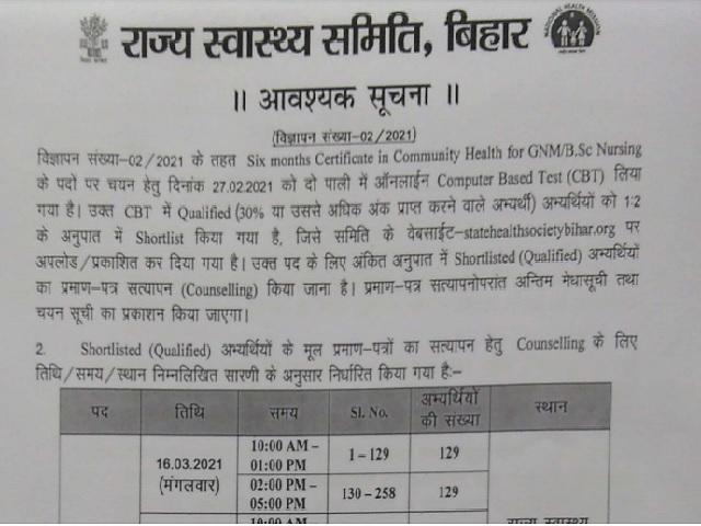 Bihar SHSB CHO Result 2021