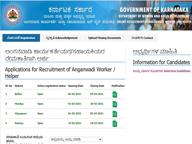WCD Karnataka Recruitment 2021: Apply for Worker and Helper Posts