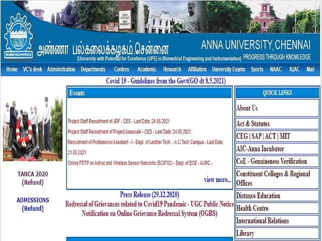 Anna University Recruitment 2021: Apply Project Associate I, II & Professional Assistant III Posts