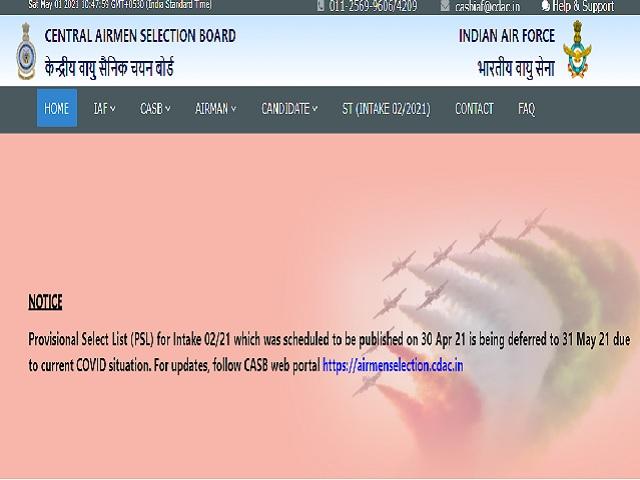 IAF CASB Airmen PSL Date 2021