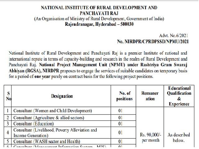 NIRDPRRecruitment