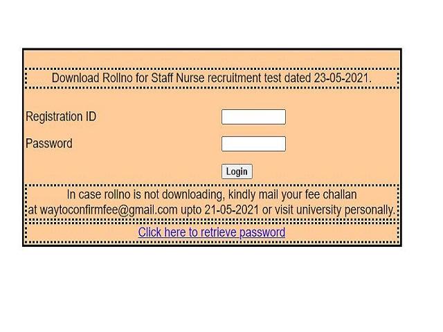 BFUSH Staff Nurse Admit card 2021