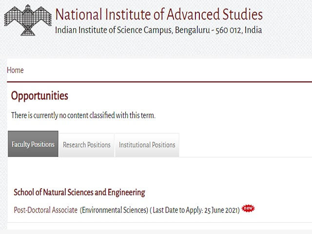 NIAS Recruitment 2021: Apply PDA & PA/JRF Posts