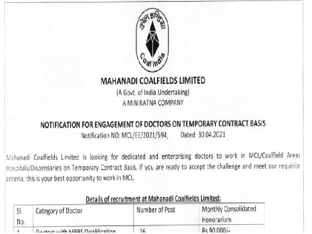 Mahanadi Coalfields Recruitment 2021