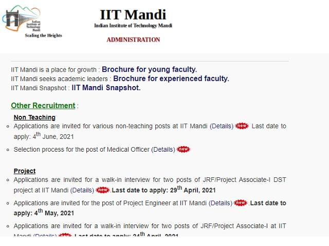 IIT Mandi Recruitment 2021: Apply Technical Officer, Sports Officer, Superintendent, Jr Engineer & Other Posts