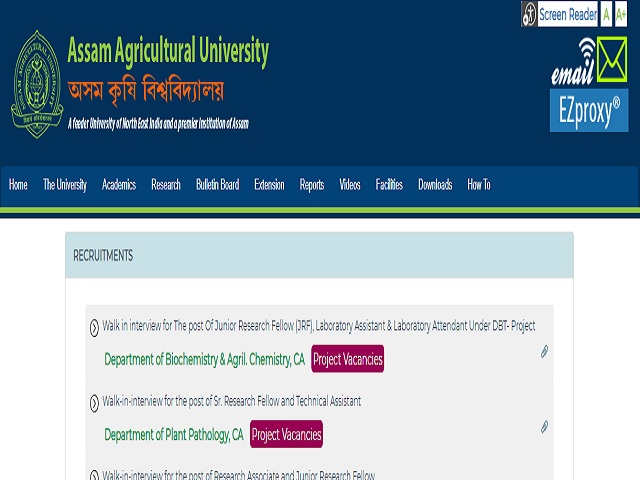 Assam Agricultural University (AAU) Senior Research Fellow and Technical Assistant Posts