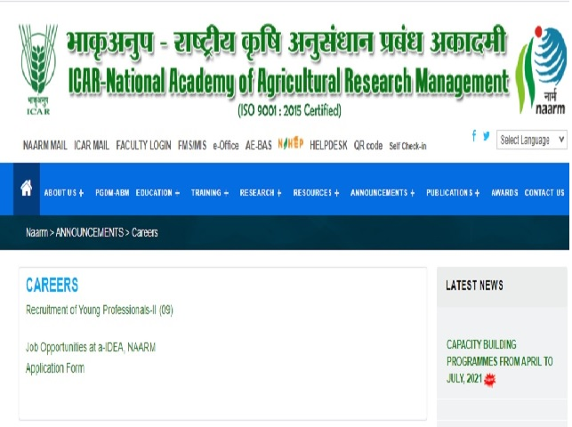 NAARM Recruitment 2021: Apply Young Professional-II Posts