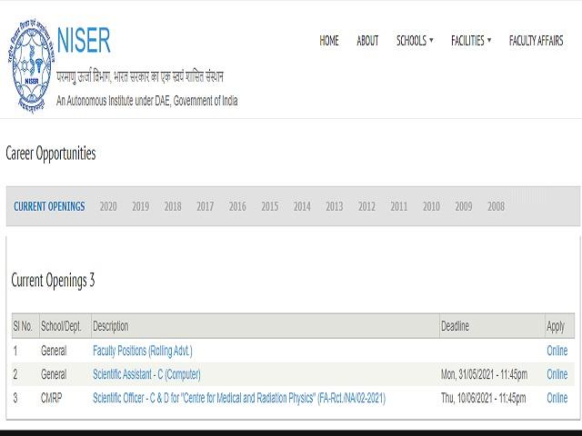 NISER Recruitment 2021: Apply Scientific Officer C & D Posts