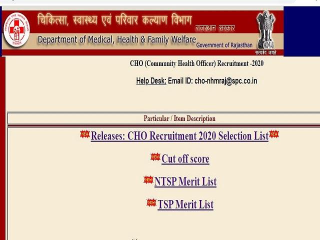 Rajasthan CHO Result 2021