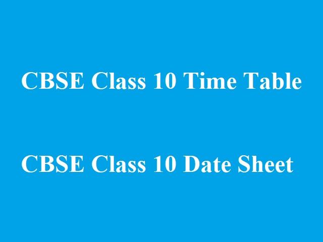 CBSE 10th Board Exam Date Sheet 2021-22
