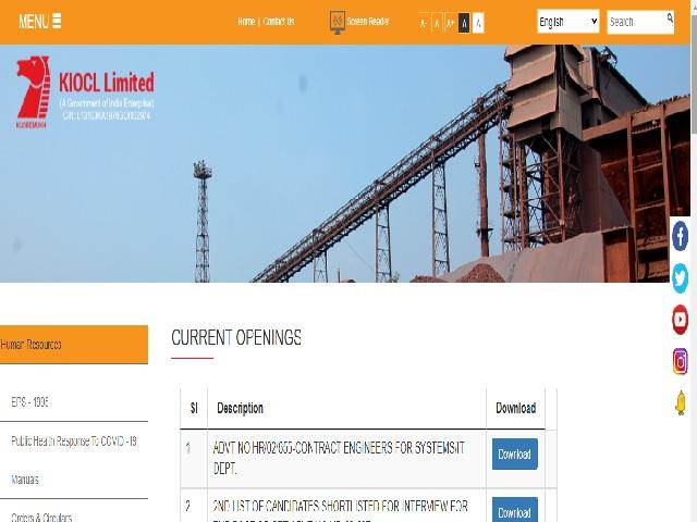 KIOCL Engineer Recruitment 2021