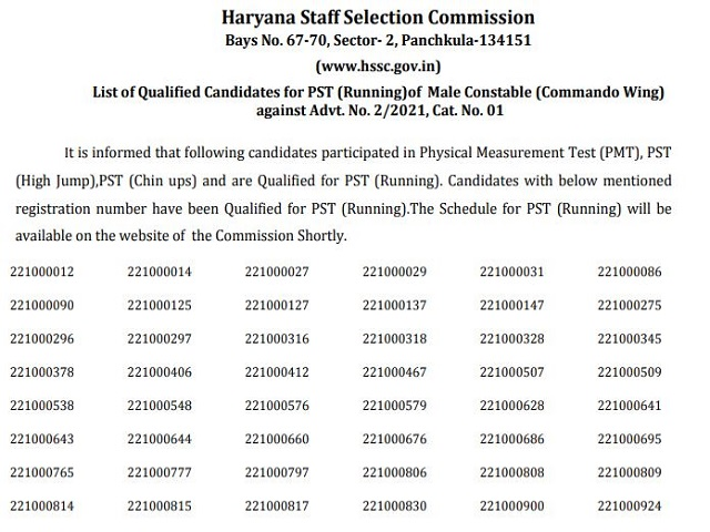 Haryana Police Commando Result 2021