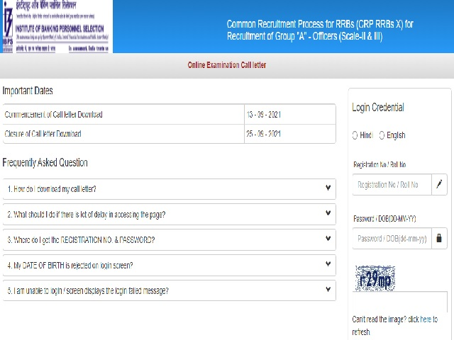 IBPS RRB Scale 1 and 2 Officer Admit Card Link