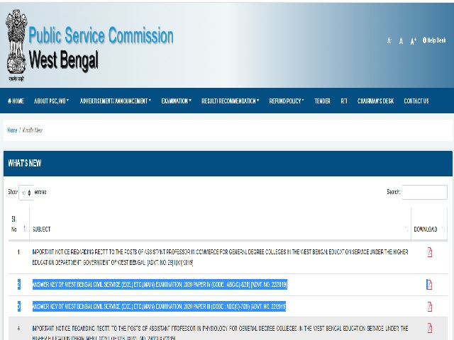 WBPSC Civil Service Mains Answer Key 2021