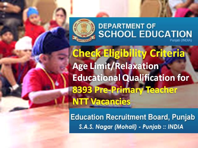 Punjab Teacher Recruitment 2021 NTT Pre Primary Eligibility: Check Age Limit/Relaxation, Educational Qualification for 8393 Teacher Vacancies