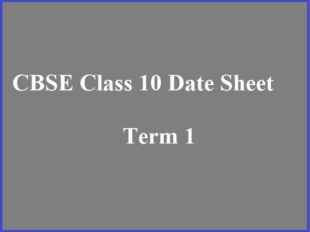 CBSE Class 10 Date Sheet 2021-22: Term 1 CBSE Time Table