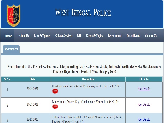 WB Excise Constable Prelims Answer Key 2019