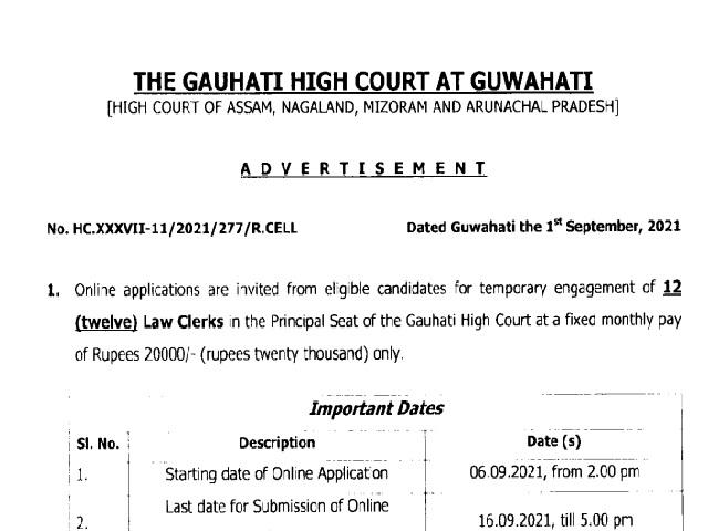 Gauhati High Court Law Clerk Recruitment 2021