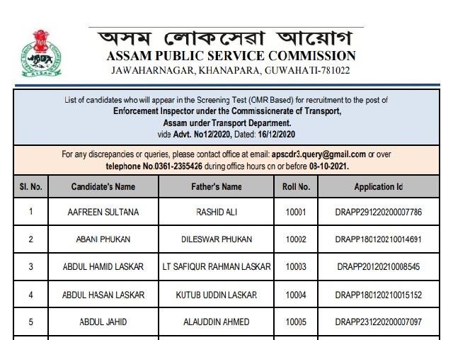 APSC  Provisional List 2021