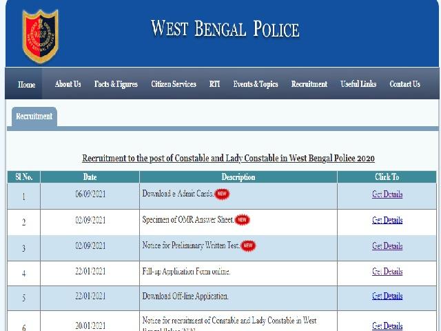 WB Police Constable 2021 Prelims Admit Card