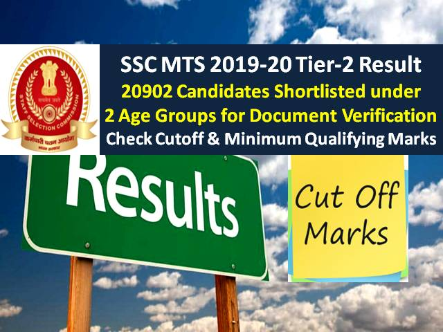 SSC MTS 2019-20 Paper-2 Result Announced @ssc.nic.in:20902 Candidates Shortlisted under 2 Age Groups for Document Verification, Check Cutoff & Minimum Qualifying Marks