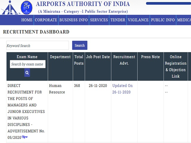 Airports Authority of India (AAI) Online for Manager and Junior Executive Posts 2020
