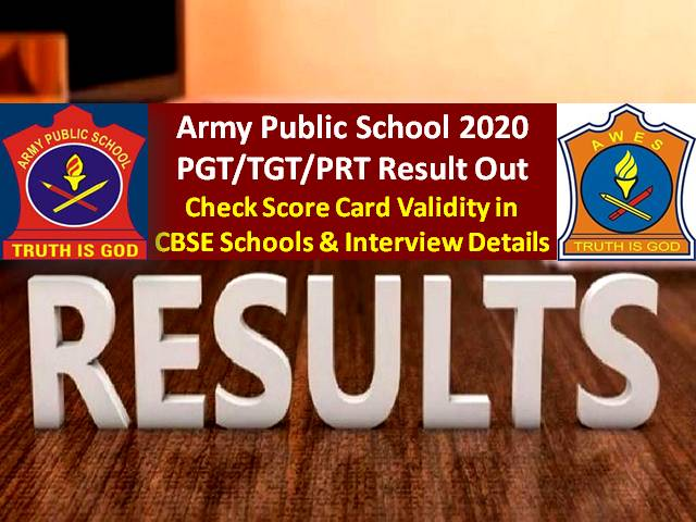 Army Public School Scorecard PGT/TGT/PRT 2020 Validity in CBSE Schools: Get Direct Link to Download Screening Test Scorecard @aps-csb.in, Check Interview Details