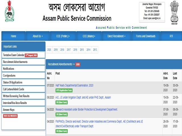 Assam Public Service Commission (APSC) Online for Assistant Engineer Posts 2020