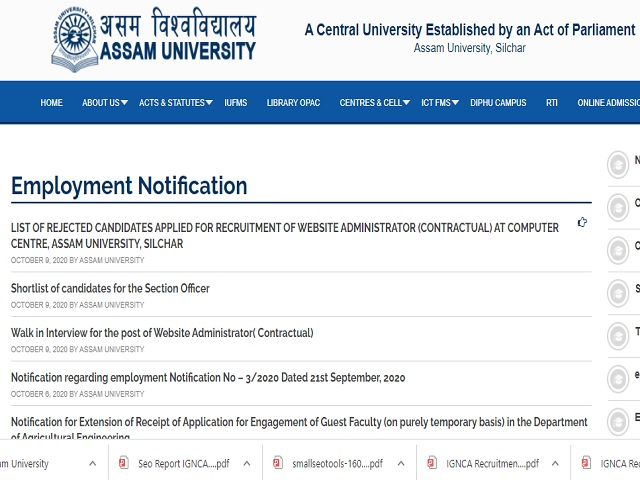 Assam University Online for Professor, Associate Professor & Assistant Professor Posts 2020
