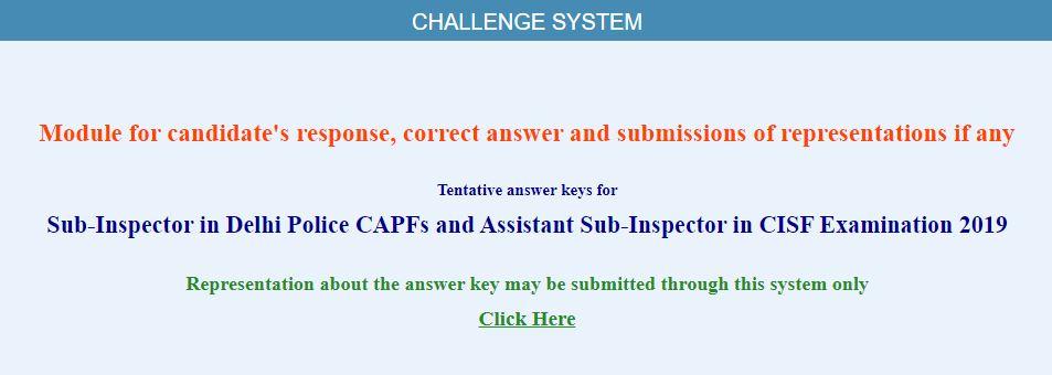 SSC CPO SI Answer Key 2019