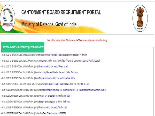 Cantonment Board Pachmarhi Assistant Teacher Posts 2020