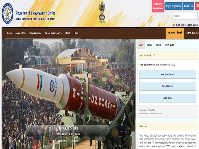 DRDO -SSPL Junior Research Fellow (JRF) and Research Associates (RA) Posts 2020