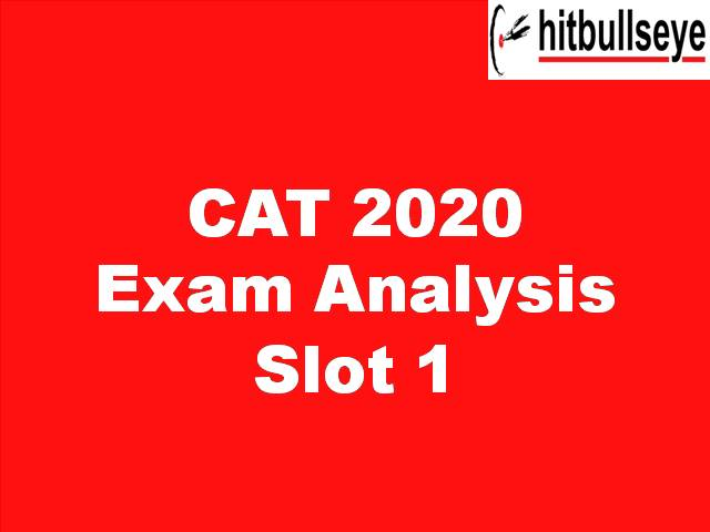 CAT 2020 Analysis by Hit Bullseye - Slot 1 Difficulty Level, Expected Percentile Overall and Section-wise