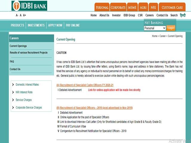IDBI Bank Ltd. Online for Specialist Cadre Officer Posts 2020