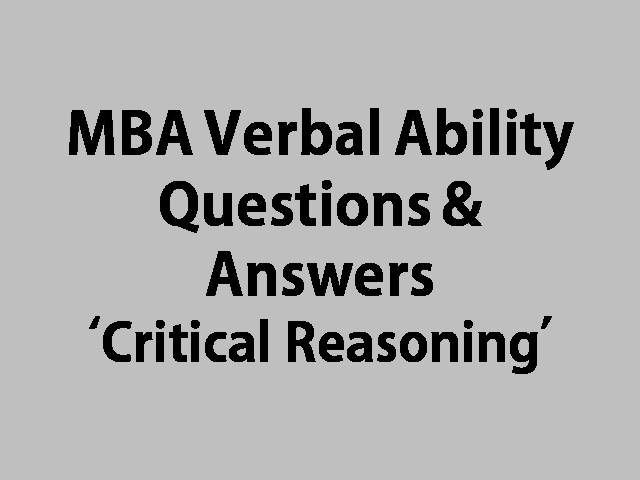 MBA Verbal Ability Critical Reasoning