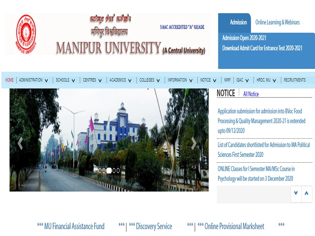 Manipur University Online for Lab. Attendant, Hindi Translator and Other Posts 2020