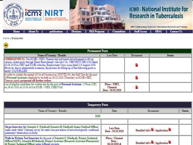ICMR -NIRT Scientist C (Medical)/Scientist B (Medical)/Junior Medical Officer Posts 2020