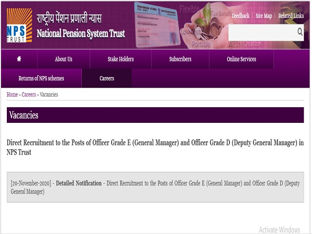 NPS Trust Officer Grade E and Officer Grade D Posts 2020